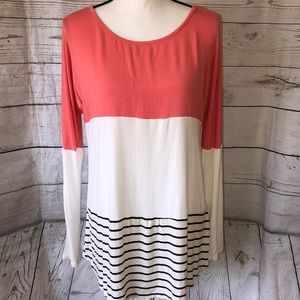 My Beloved off white coral black striped top